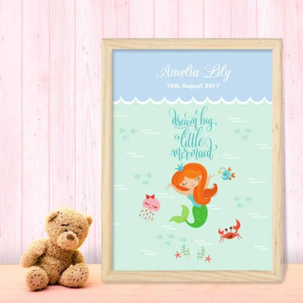 Personalised Baby Girl Poster with an illustration of a little mermaid and customisable text