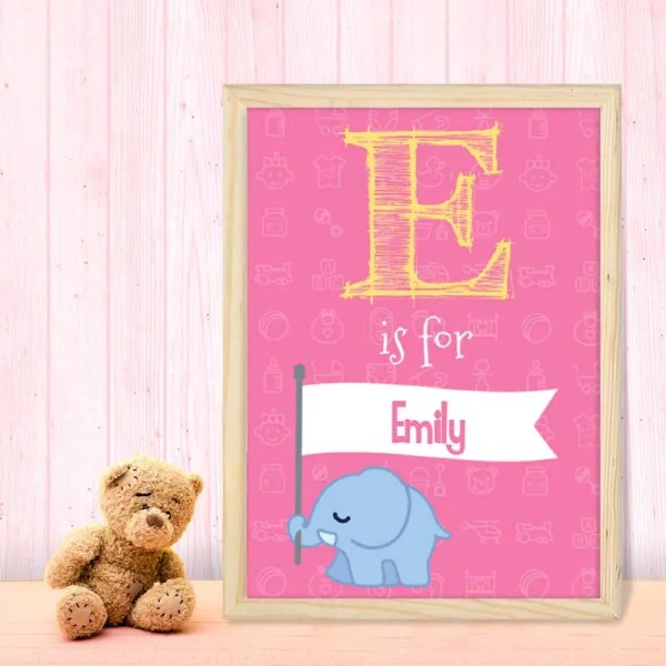 Personalised Baby Girl Poster with a large initial letter and customisable text
