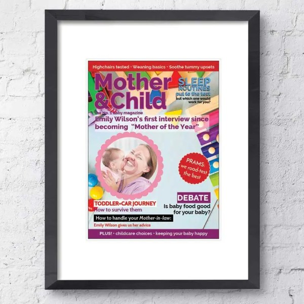 Personalised Magazine Poster with a Mother and Child background and customisable text and images