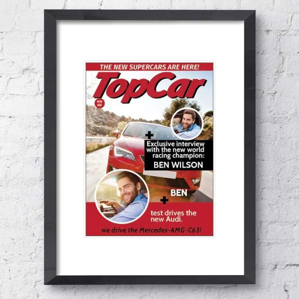 Personalised Magazine Poster with a motoring background and customisable text and images