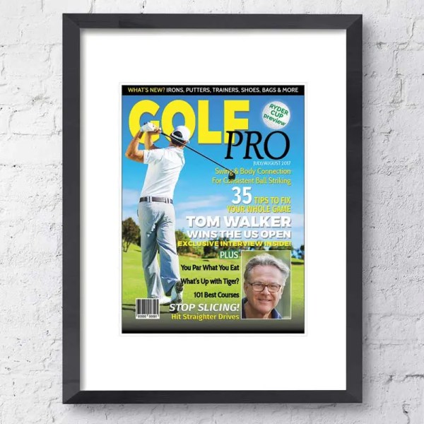 Personalised Magazine Poster with a golfing background and customisable text and images