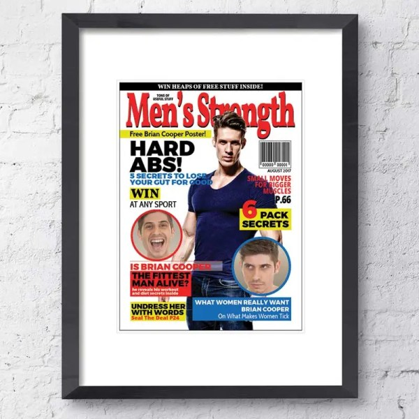 Personalised Magazine Poster with a Men's Strength background and customisable text and images
