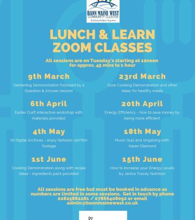 New Lunch & Learn Zoom Programme Mar – June 2021