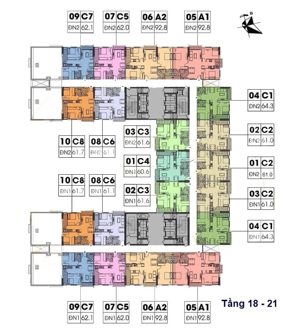 mặt bằng chung cư geleximco southern star giải phóng tầng 18 - 21
