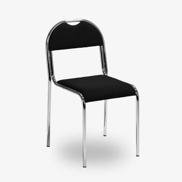 Klassisk stapelbar stol RX002 - Svart tygsits i kromat stativ