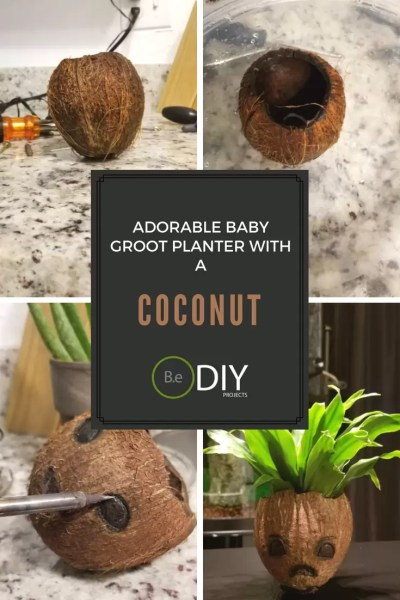 adorable diy  coconut baby groot planter