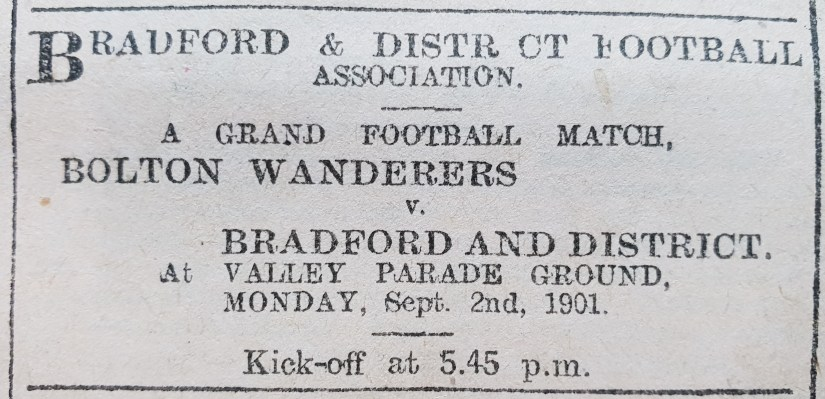 1901-08-31 ys advert for b&dfa bolton wandeers exhibition game