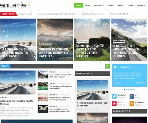 solaris theme wordpress