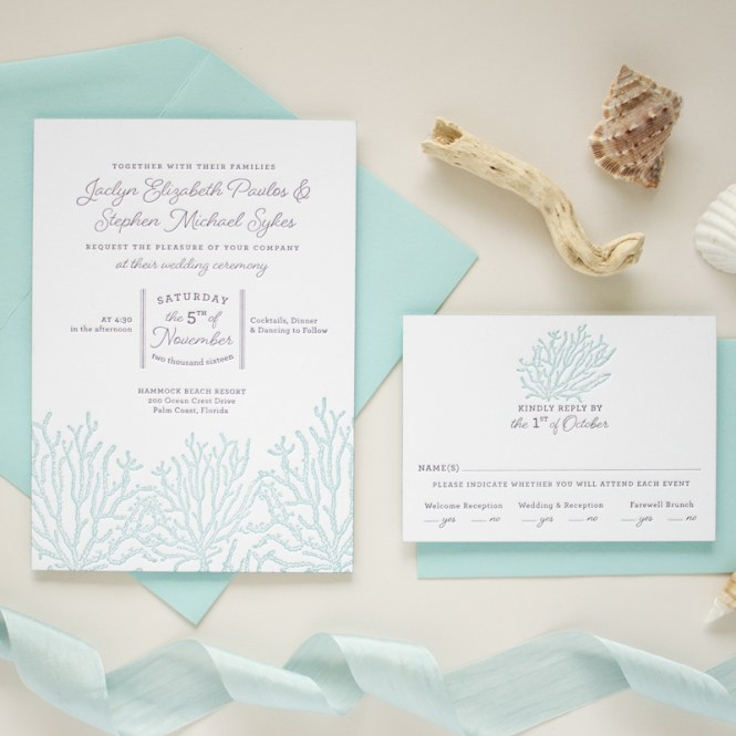 Beach Themed Wedding Invitations C Reef