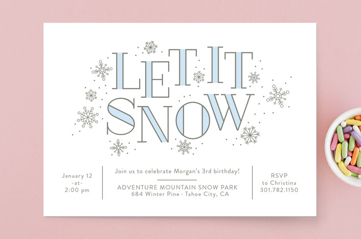 let it snow winter party invitations