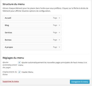 Créer un menu personnalisé dans WordPress