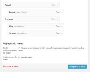 Créer un menu wordpress