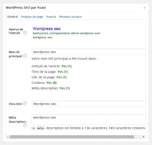 configurer un article avec wordpress seo by yoast