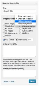 Afficher ou cacher les widgets dans les pages wordpress
