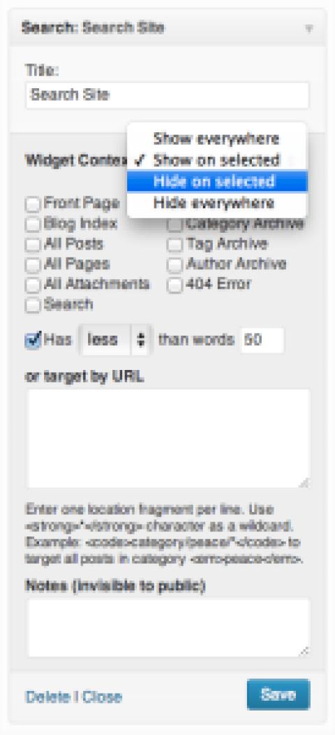 Ordonner et afficher les widgets wordpress en fonction des pages