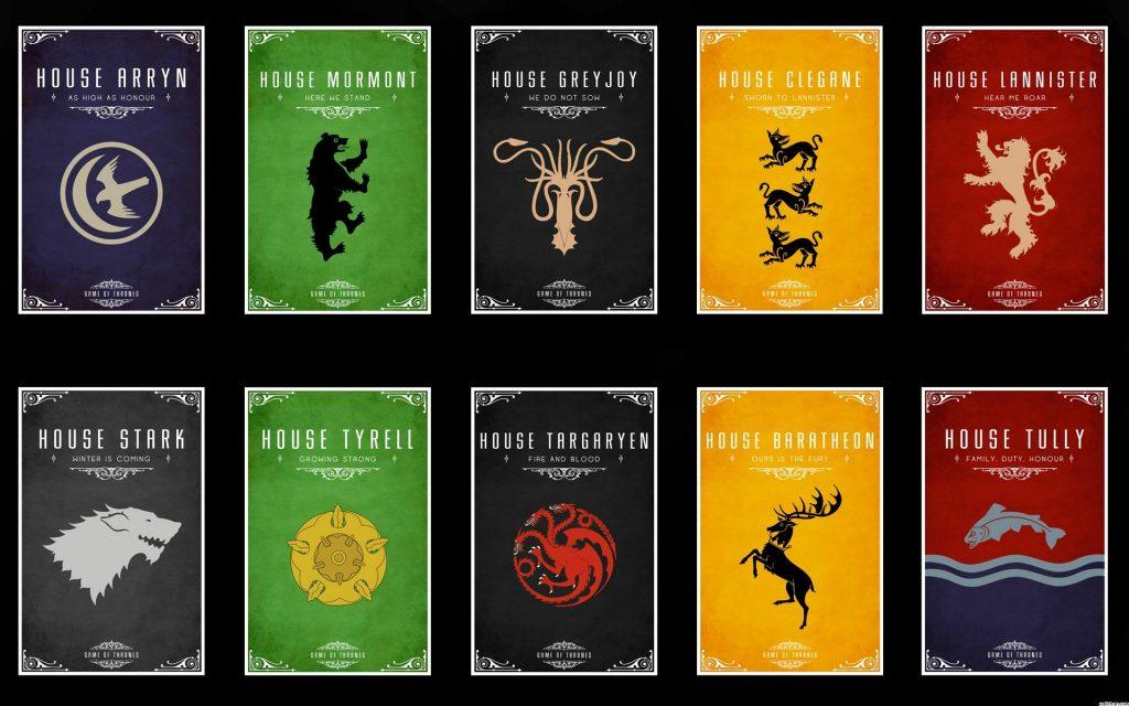 Blasons: les grandes maisons dans Game of Thrones