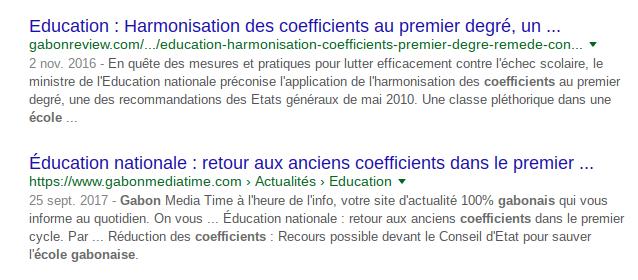 Les coefficients dans l'école du Gabon