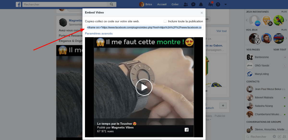 Facebook video embed