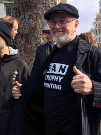 Peter Egan displays our slogan at London march