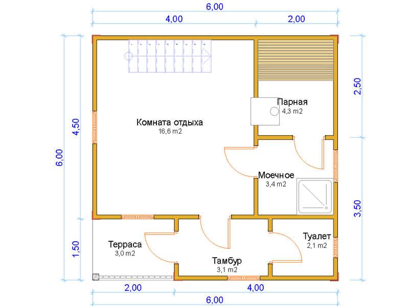 проекты двухэтажных бань из блоков