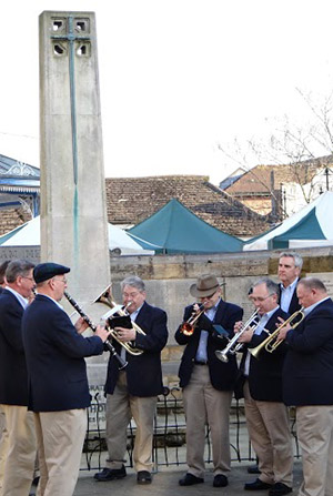 The Dixieland band performs in Horsham's town square.