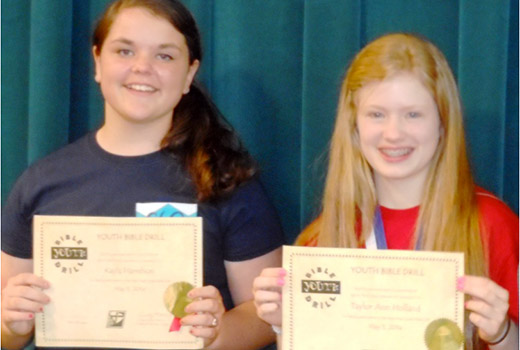 State youth Bible drillers Kayla Harrelson and Taylor Ann Holland.