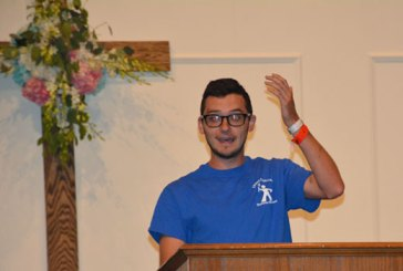 Chris Bozard shares how God looked out for their group during the mission trip report June 14 at Hagood Avenue Baptist Church, Barnwell. (Photo by Jonathan Vickery, The People-Sentinel, Barnwell)