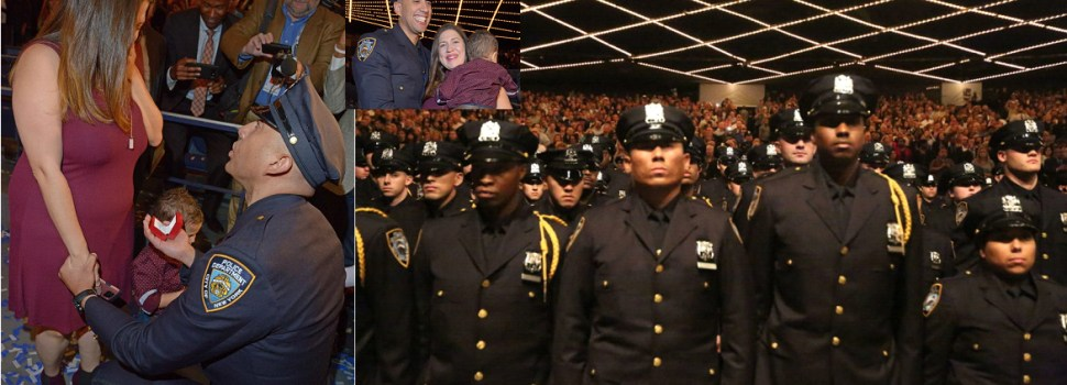 Policía dominicano pide boda en graduación