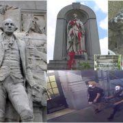 Desconocidos dañan estatuas de George Washington