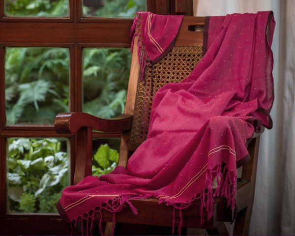 Handloom Dupatta hand embroidered zardozi