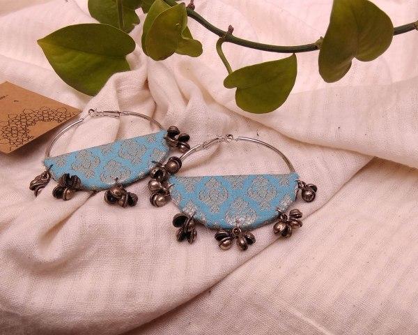 Handmade fabric jewelry earring ajrakh brocade