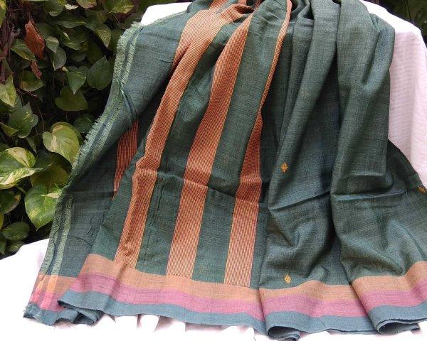 Handloom cotton saree, sari handmade natural white handwoven in India
