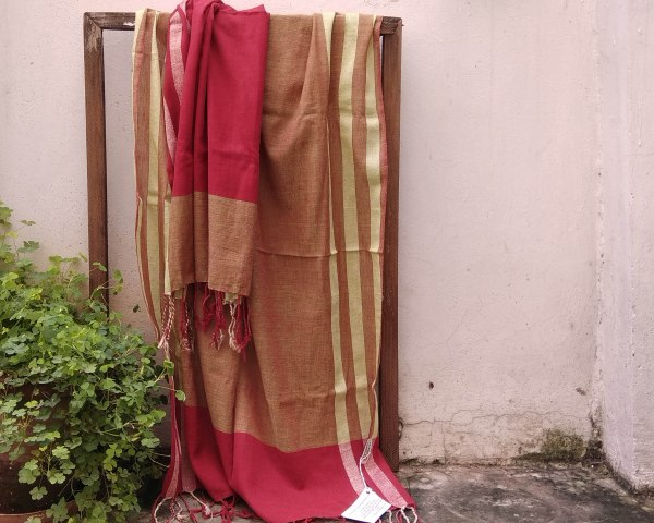 Handloom cotton saree, sari handmade natural white handwoven in India
