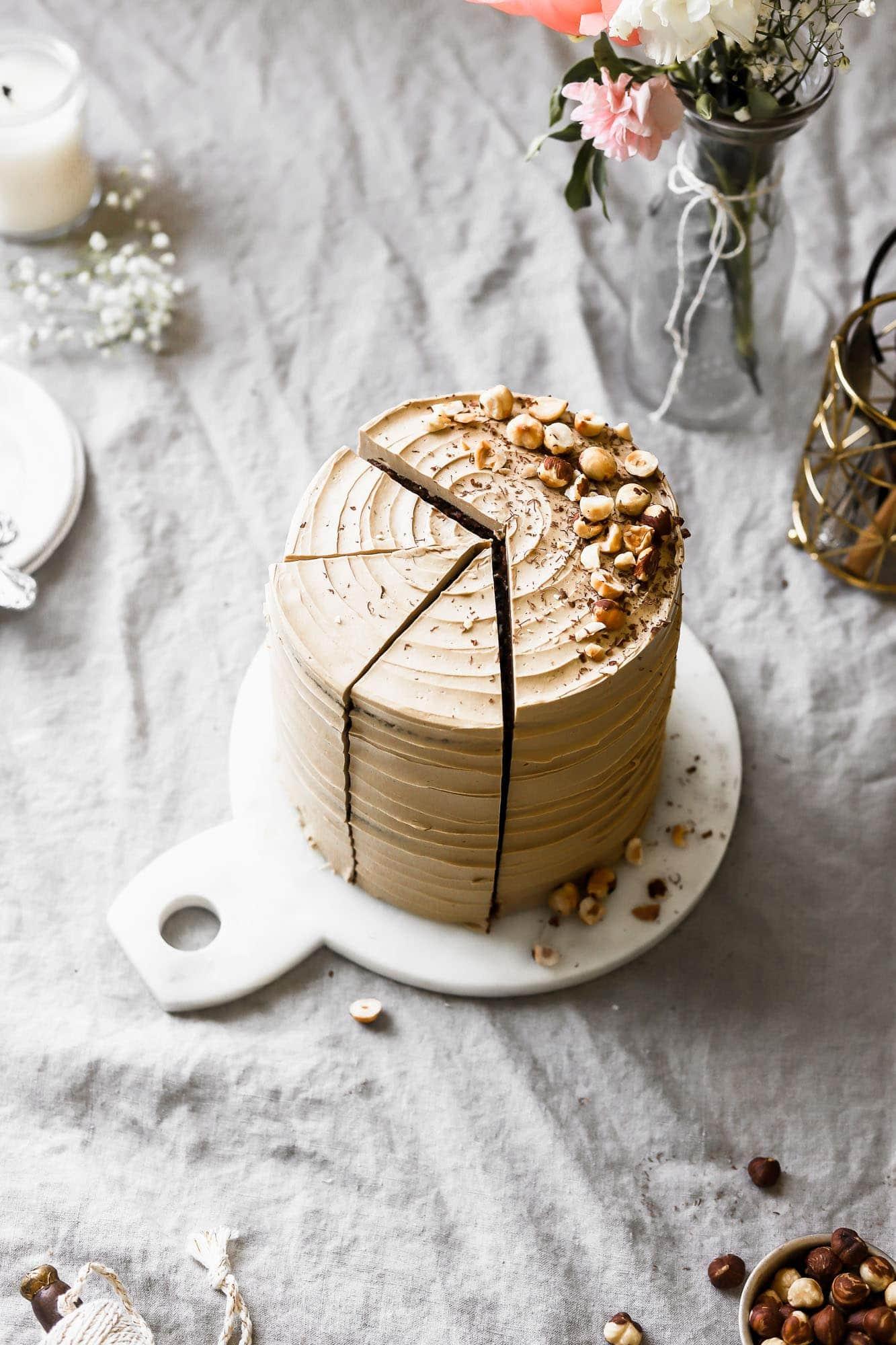 mocha cake with toasted hazelnuts
