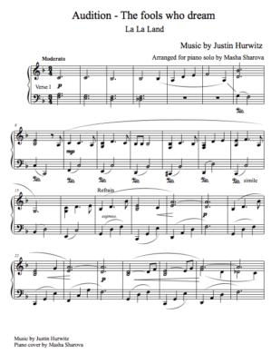 La partition de La La Land - the full piano sheet of Audition