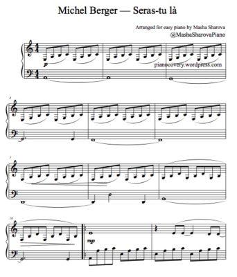 """Partition facile chanson de Michel Berger """"Seras-tu là"""""""