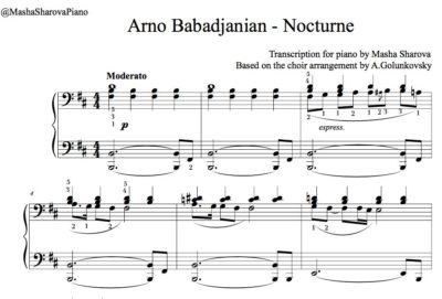 Partition de piano jazz Nocturne par Arno Babadjanian