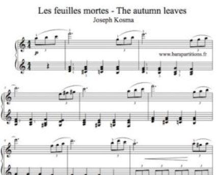 Partition de piano sheet Autumn leaves pianocover