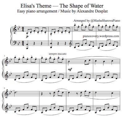La partition piano sheet Desplat Elisa Theme