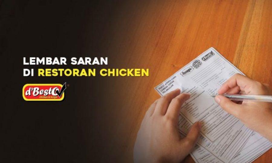 Lembar Saran di Restoran Chicken