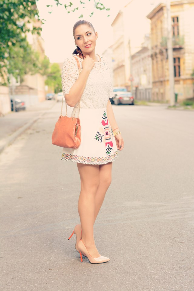 white lace ethnic print