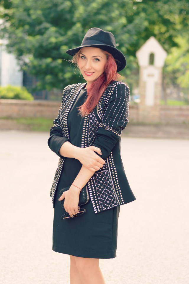 black studded blazer and hat