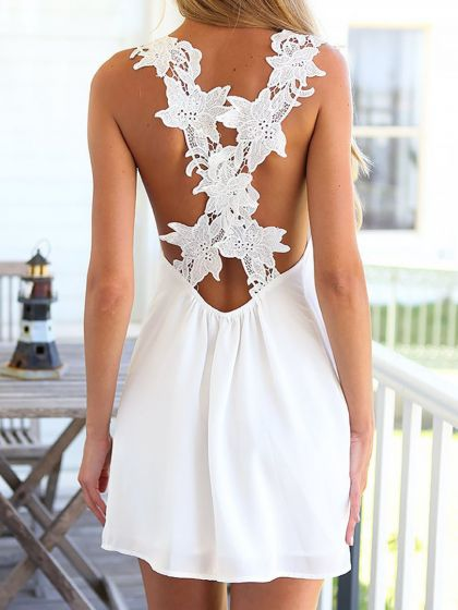 lace detail white dress