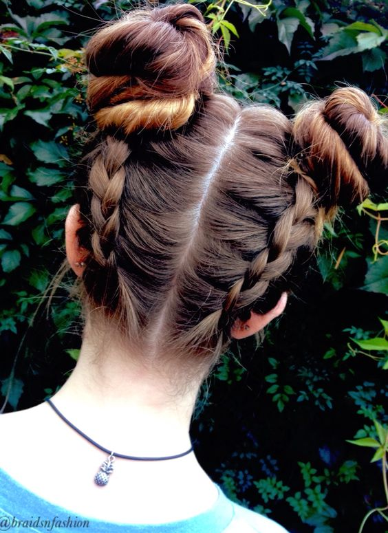 double dutch braids bun