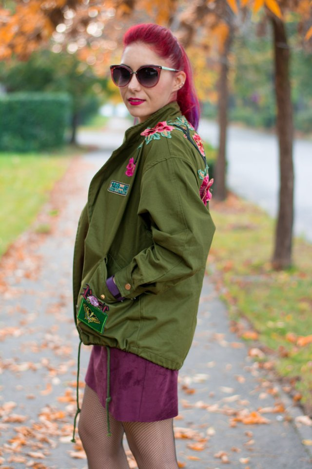 khaki embroidered coat