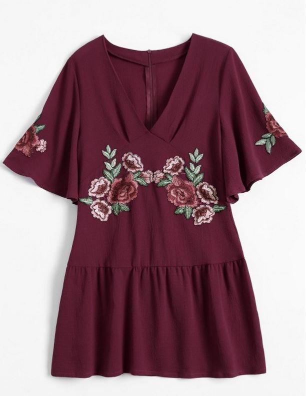 loose red embroidered dress