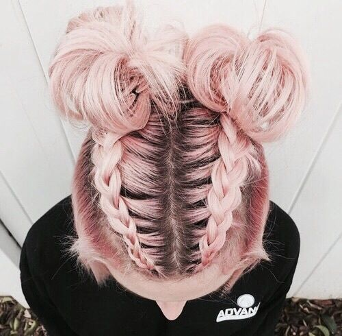 pink double bun hairstyle