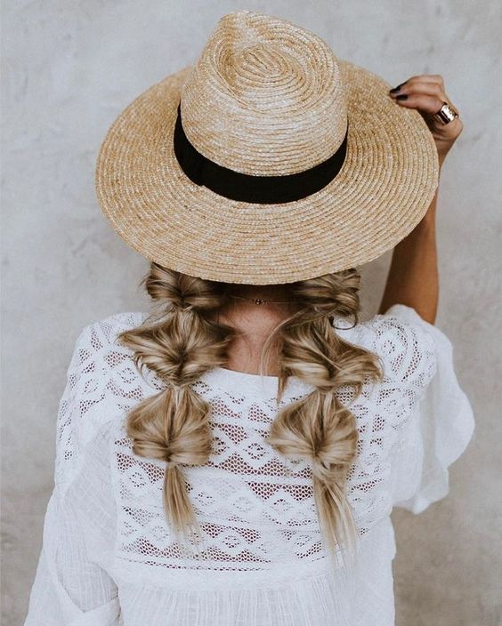 messy braids for hats
