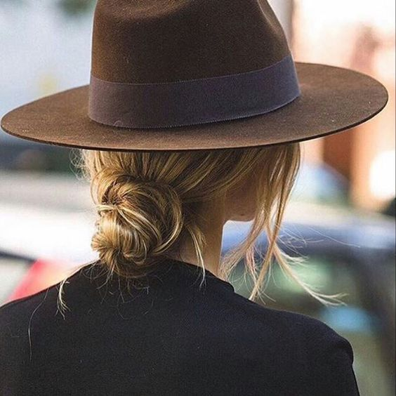 chignon with hat