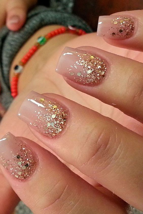 glittery nude nails